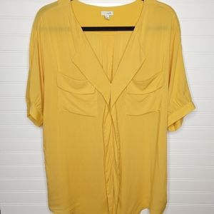 ODILLE | Mustard Yellow V-Neck Rayon Blouse Sz M